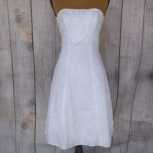 WHBM Lined Strapless White Midi Dress Sz 2